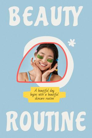 Plantilla de diseño de Beauty Ad with Girl in Cosmetic Eye Patches Pinterest