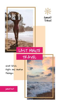 Template di design Surfing Trip Offer Woman with Board by Sea Instagram Story