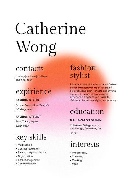 Fashion Stylist skills and experience Resume Modelo de Design