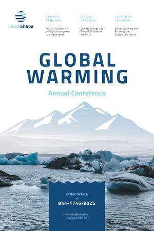 Global Warming Conference with Melting Ice in Sea Pinterest Design Template