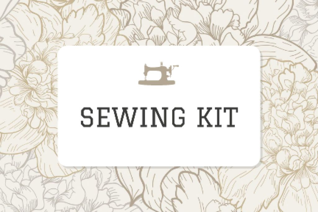 Sewing company ad on Flowers pattern — Crea un design