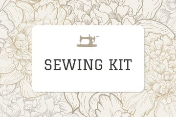 Sewing company ad on Flowers pattern