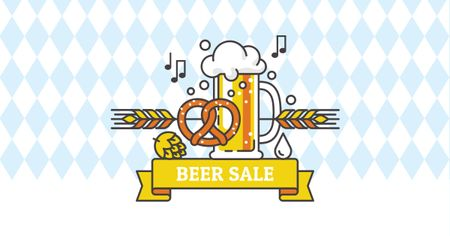 Plantilla de diseño de Beer Sale with Traditional Oktoberfest treat Facebook AD