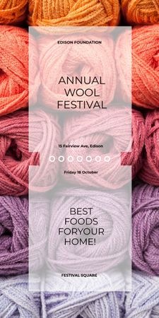 Knitting Festival Wool Yarn Skeins Graphic Design Template