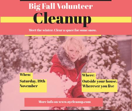 Ontwerpsjabloon van Facebook van Woman at Winter Volunteer clean up