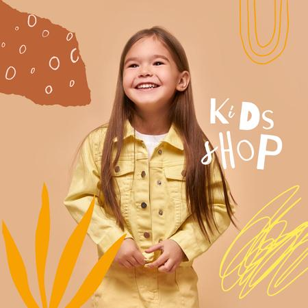 Kids Shop Ad with Cute Smiling Girl Instagramデザインテンプレート