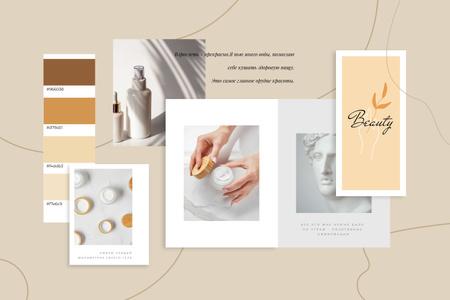 Woman using Skincare products Mood Board – шаблон для дизайна