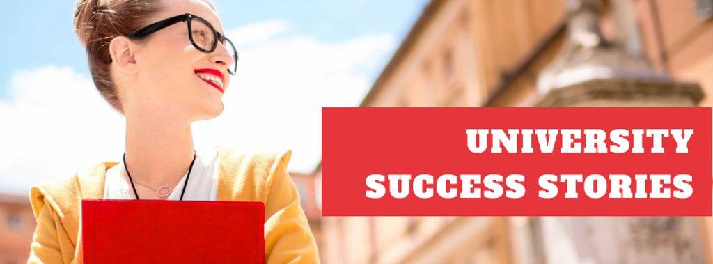 University success stories with smiling Woman — Crear un diseño