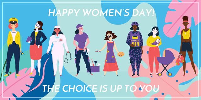 Platilla de diseño Women's day greeting with Diverse Women Image