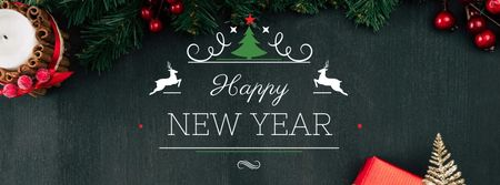 New Year Greeting with Decorations on Fir Tree Facebook cover Modelo de Design