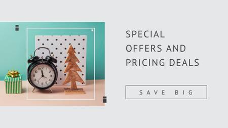 Designvorlage Cute Tiny Gift with Toy Fir Tree and Alarm Clock für FB event cover