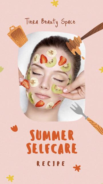 Summer Skincare with Fruits on Woman's Face Instagram Storyデザインテンプレート
