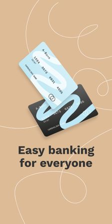 Banking Services ad with Credit Cards Graphic Design Template