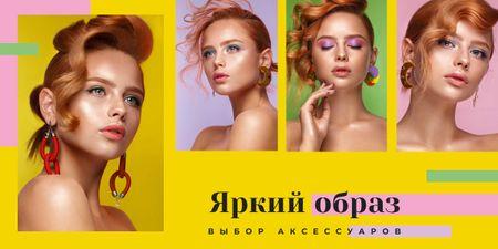 Young woman with fashionable makeup Image – шаблон для дизайна
