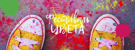 Indian Holi festival celebration Facebook cover – шаблон для дизайна