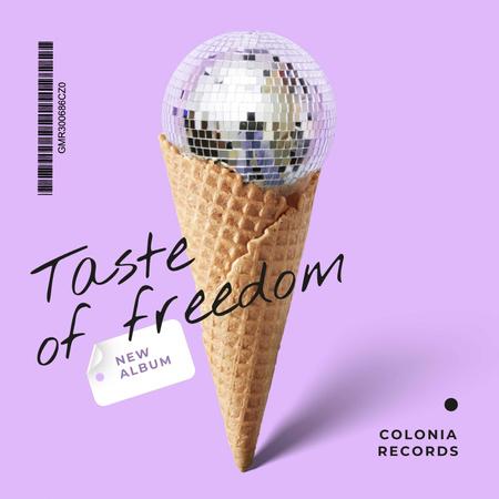 Disco ball in waffle cone Album Cover Modelo de Design