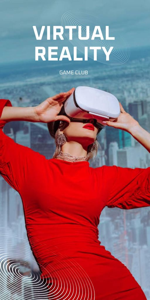 Modèle de visuel Virtual Reality Game Club Ad with Woman in Glasses - Graphic