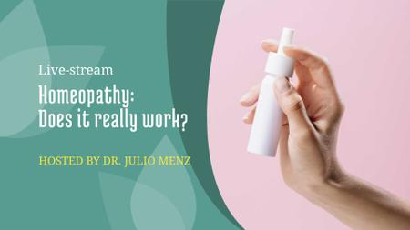 Healthcare lecture announcement with Woman Holding Spray Bottle FB event cover – шаблон для дизайна