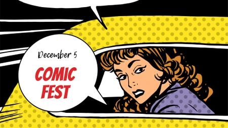 Comic Fest Announcement with Woman in Taxi illustration FB event coverデザインテンプレート