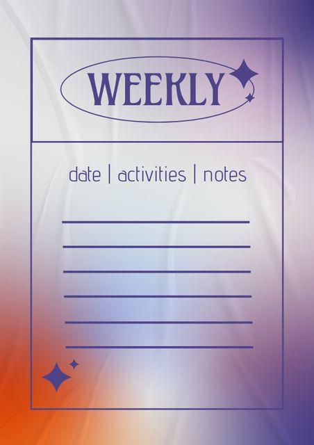 Weekly Activities Planning Schedule Planner – шаблон для дизайна