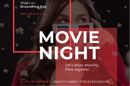 Movie night event with Woman in Glasses Gift Certificate – шаблон для дизайна
