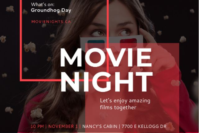 Movie night event with Woman in Glasses Gift Certificate – шаблон для дизайну