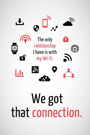 Wi-fi connection icons Pinterest – шаблон для дизайна