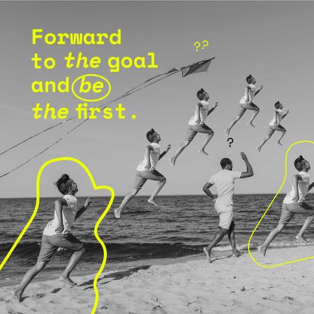 Modèle de visuel Inspirational Phrase with Boy running after Kite on Beach - Instagram