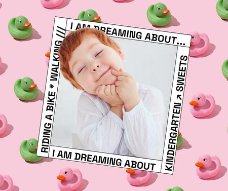 Plantilla de diseño de Cute Little Child and Toy Ducks Facebook