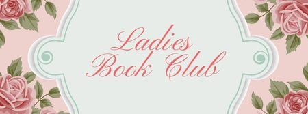 Book Club Meeting announcement with roses Facebook cover – шаблон для дизайна