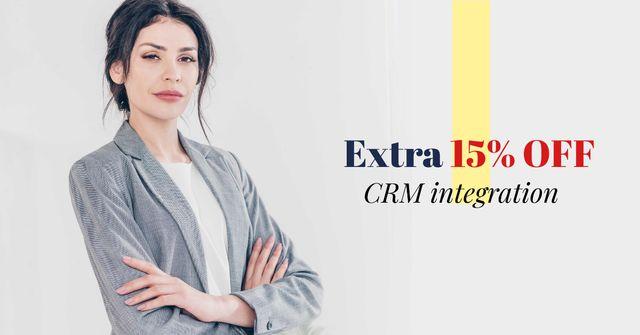Discount Offer with Confident Businesswoman Facebook AD – шаблон для дизайна