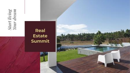 Real Estate Summit Announcement with Modern Yard FB event cover Modelo de Design