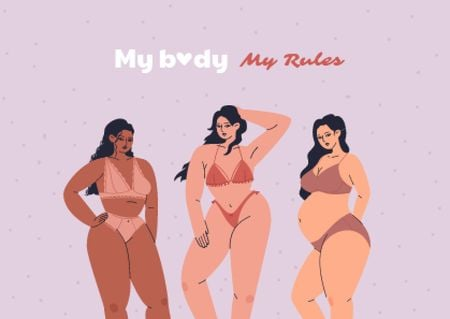 Plantilla de diseño de Bodypositive Inspiration with Girls in Swimsuits Card