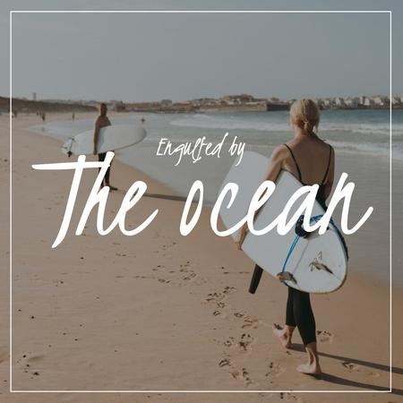 Designvorlage Summer Mood with Surfers at the beach für Album Cover