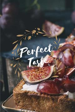 Perfect taste lettering with delicious cake