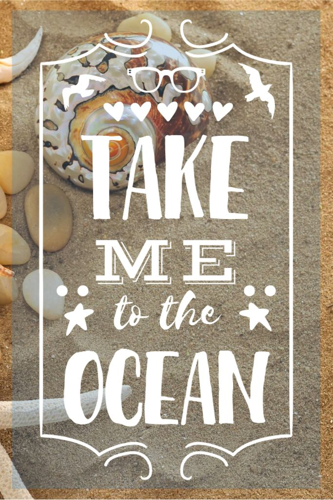 Vacation Theme Shells on Sandy Beach Tumblr Design Template