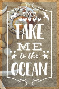Vacation Theme Shells on Sandy Beach