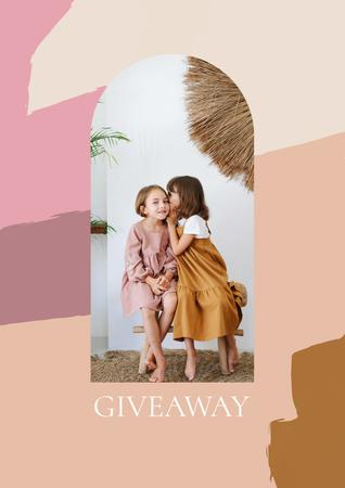 Template di design Giveaway announcement with Kids sharing Secret Poster
