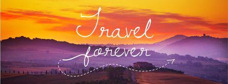Travelling Inspiration Scenic Sunset Landscape Facebook cover – шаблон для дизайна