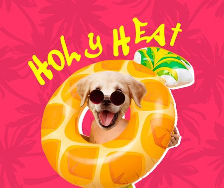 Funny Cute Dog in Bright Inflatable Ring Facebook Modelo de Design
