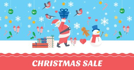 Ontwerpsjabloon van Facebook AD van Christmas Sale with Snowman and Santa