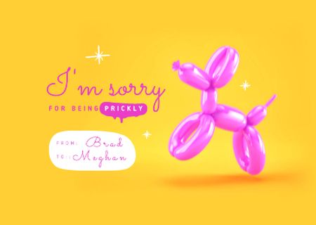 Cute Apology Phrase with Inflatable Poodle Card Modelo de Design