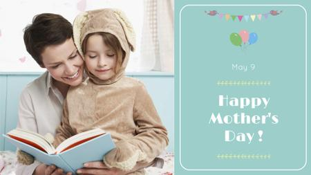 Template di design Mother's Day Greeting with Mother reading with Child FB event cover