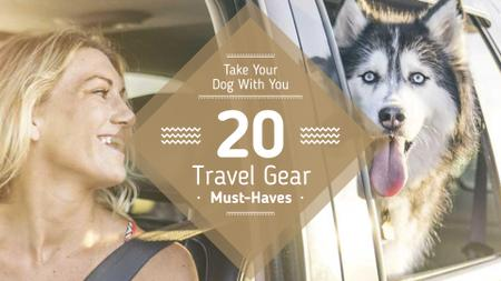 Travelling with Pet Woman and Dog in Car FB event cover Modelo de Design