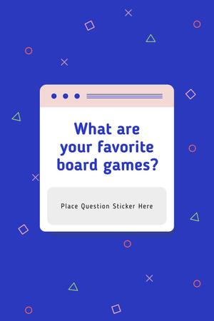 Modèle de visuel Favorite Board Games question on blue - Pinterest