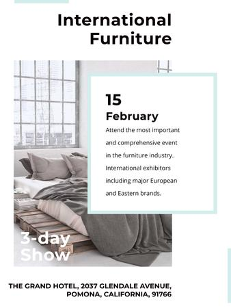 Template di design Furniture Show Bedroom in Grey Color Poster US