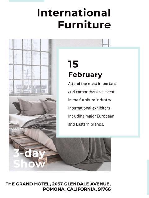 Furniture Show Bedroom in Grey Color Poster US Modelo de Design