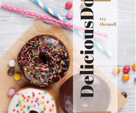 Advertisement of delicious donuts Medium Rectangle Modelo de Design