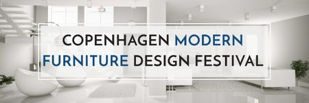 Modèle de visuel Furniture Design Festival with Modern White Room - Email header