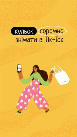Eco Recycling Concept with Girl holding Plastic Bag Instagram Video Story – шаблон для дизайна